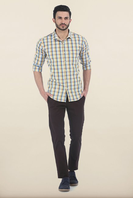 Basics Yellow & Blue Checked Slim Fit Shirt