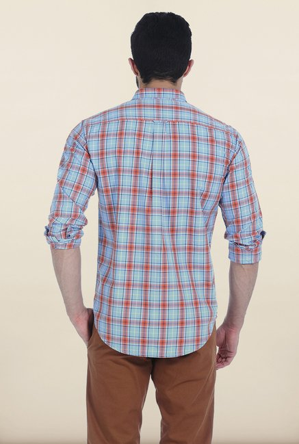 Basics Powder Blue Twill Checks Slim Fit Shirt