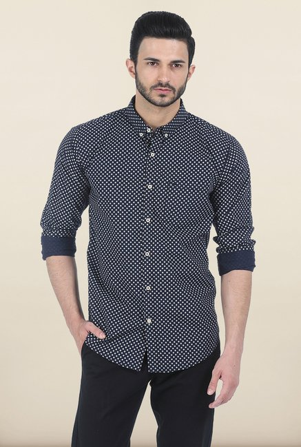 Basics Blueberry Ornament Circle Dotted Slim Fit Shirt