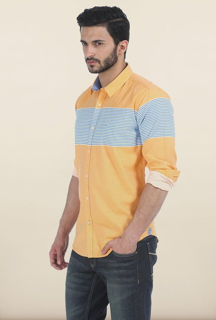 Basics Marigold Weft Striped Twill Slim Fit Shirt