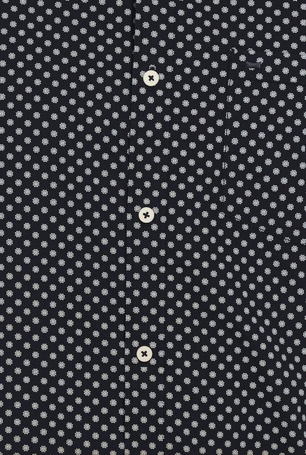 Basics Moonless Night Ornament Circle Dotted Slim Fit Shirt