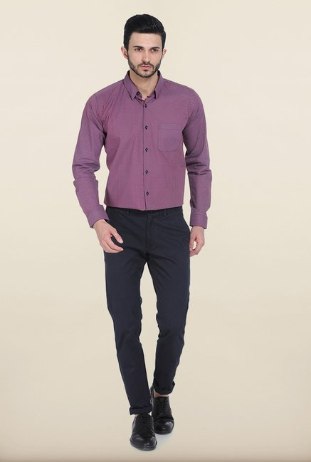 Basics Purple Cambric Printed Slim Fit Shirt