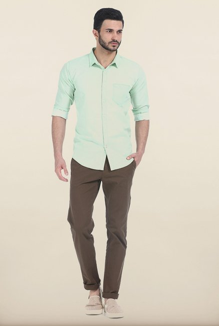 Basics Green Ash Slim Fit Shirt