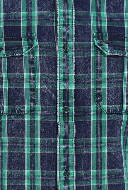 Basics Deep Mint Tartan Yarn Dyed Checks Slim Fit Shirt