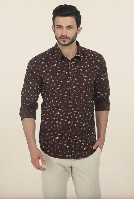 Basics Seal Brown Printed Slim Fit Shirt