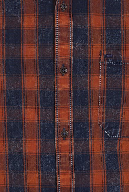 Basics Orange Rust Indigo Checks Slim Fit Shirt