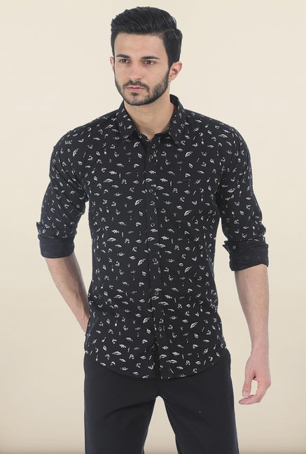 Basics Moonless Night Printed Slim Fit Shirt