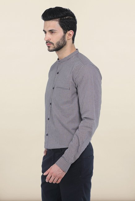 Basics Blue & Brown Dobby Slim Fit Shirt