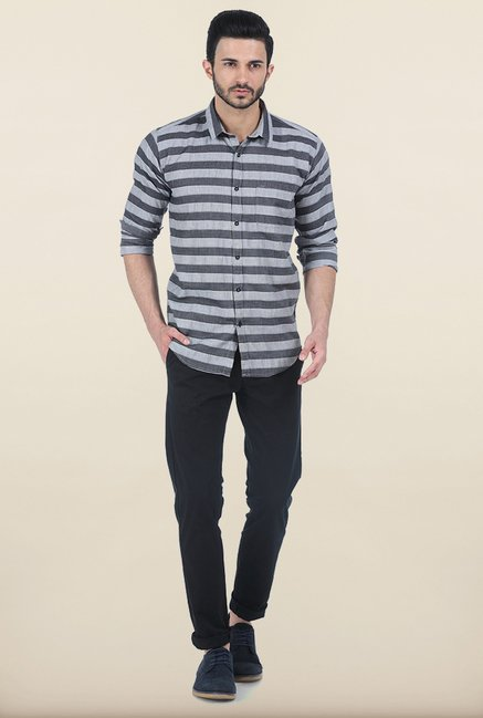 Basics Smoked Pearl Weft Striped Slim Fit Shirt