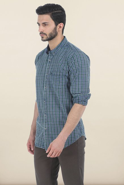 Basics Antique Green Indigo Checks Slim Fit Shirt