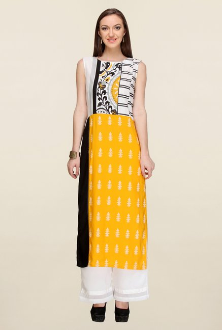 W Yellow Printed Kurta