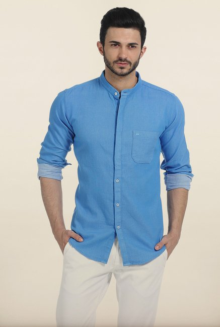Basics French Blue Birds Eye Dobby Slim Fit Shirt