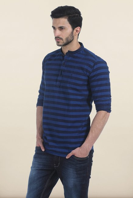Basics Sodality Blue Weft Stripes Slim Fit Kurta