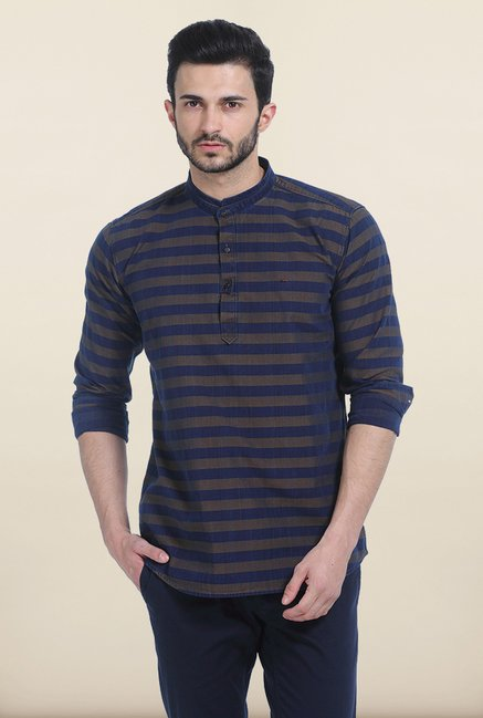 Basics Brown Weft Stripes Slim Fit Kurta