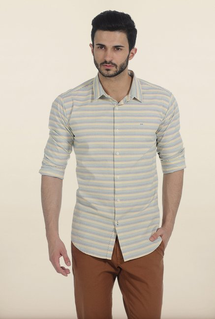 Basics Yellow Weft Stripes Slim Fit Shirt