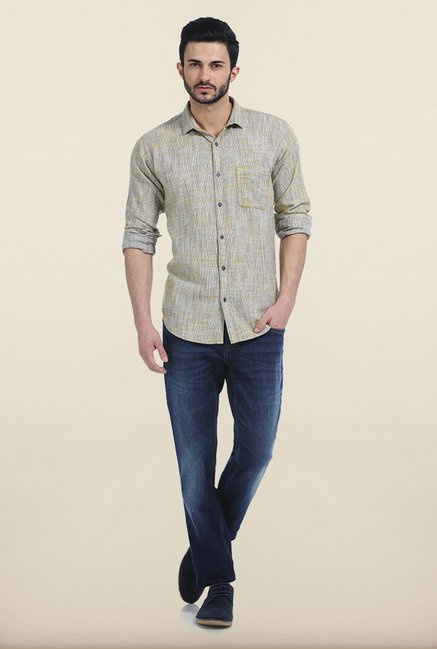 Basics Golden Rod Twill Slim Fit Shirt