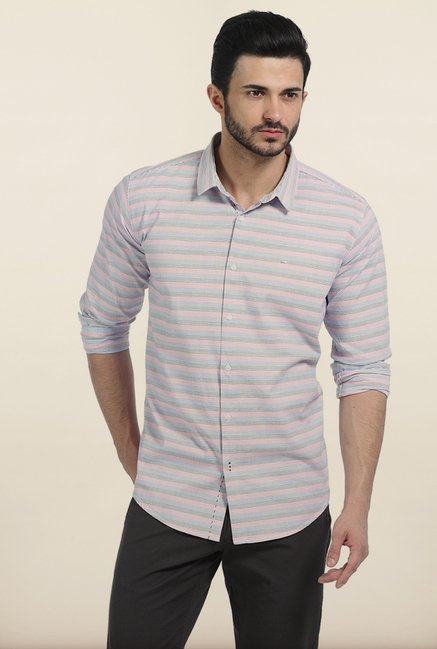 Basics Pink Weft Stripes Slim Fit Shirt