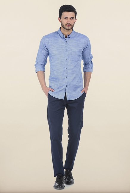 Basics Forever Blue Chambray Slim Fit Shirt