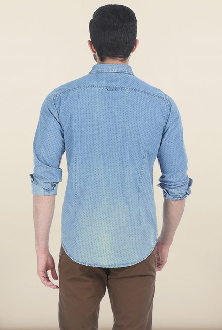 Basics Twilight Blue Printed Slim Fit Shirt