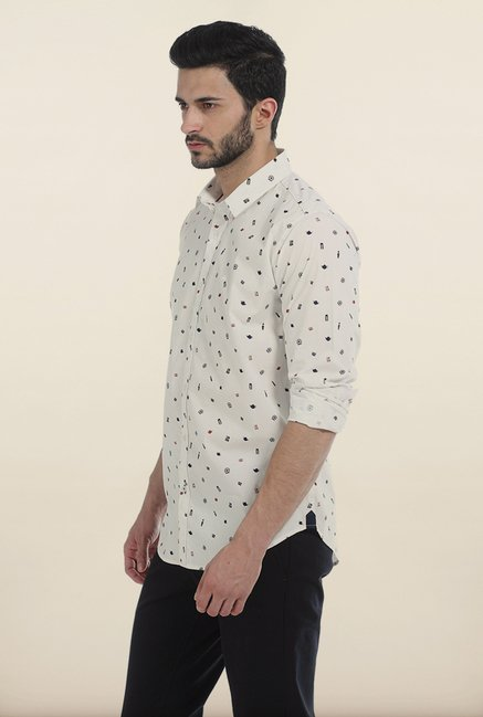 Basics Snow White London Print Slim Fit Shirt
