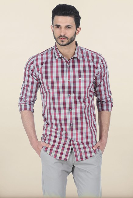 Basics Salsa Red Tartan Checked Slim Fit Shirt