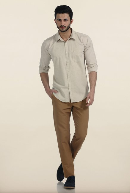 Basics Almond Buff Melange Giza Slim Fit Shirt