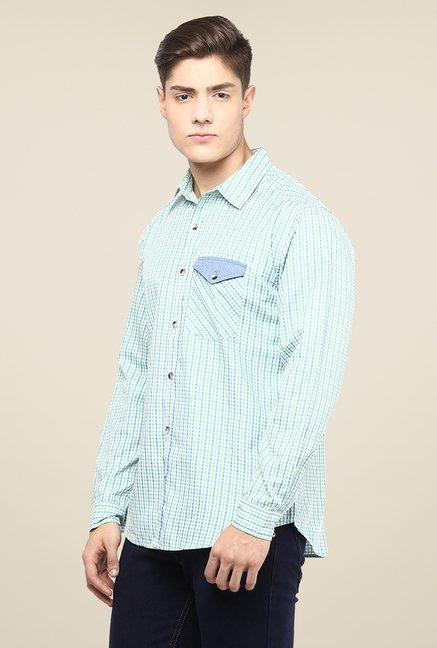 Yepme Sky Blue Dominique Checked Premium Cargo Shirt