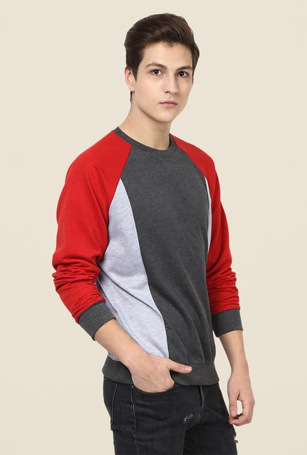 Yepme Henrik Grey & Red Solid Sweatshirt