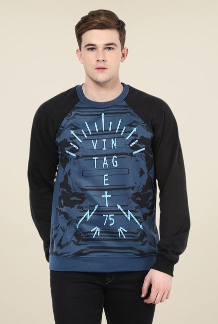 Yepme Keith Blue & Black Printed Sweatshirt