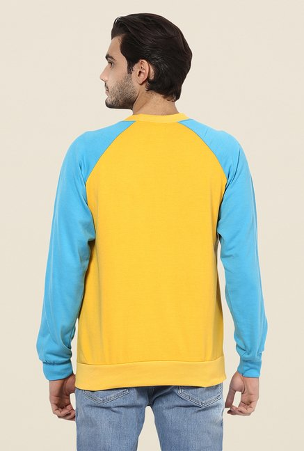Yepme Steve Yellow & Blue Printed Sweatshirt
