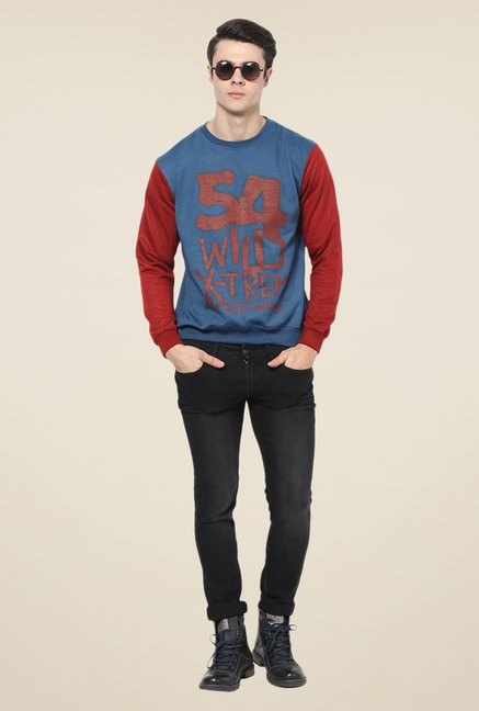 Yepme Freddy Blue & Maroon Graphic Print Sweatshirt