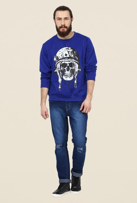 Yepme Fredd Blue Graphic Print Sweatshirt