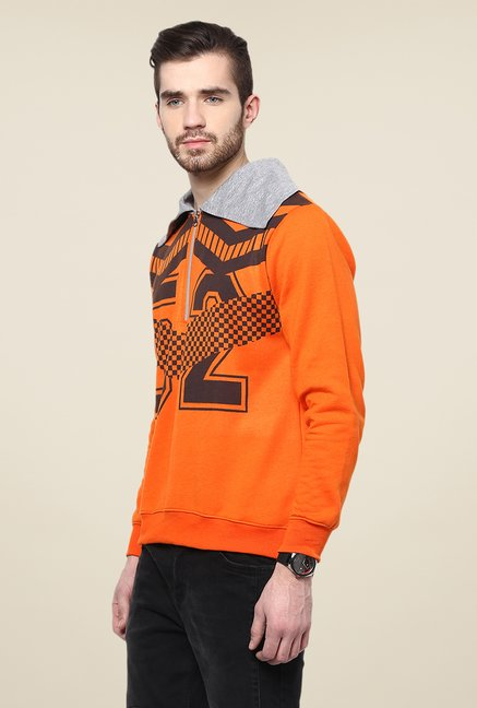 Yepme Orange Graphic Print Sweatshirt