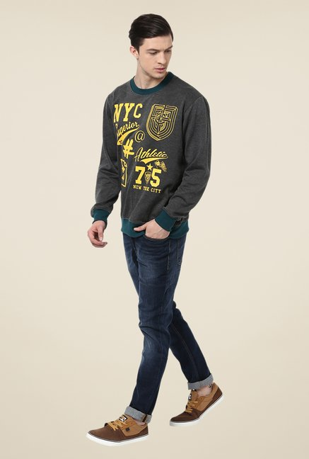 Yepme Dark Grey Printed Sweatshirt