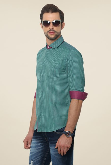Yepme Sea Green Scanton Premium Printed Shirt