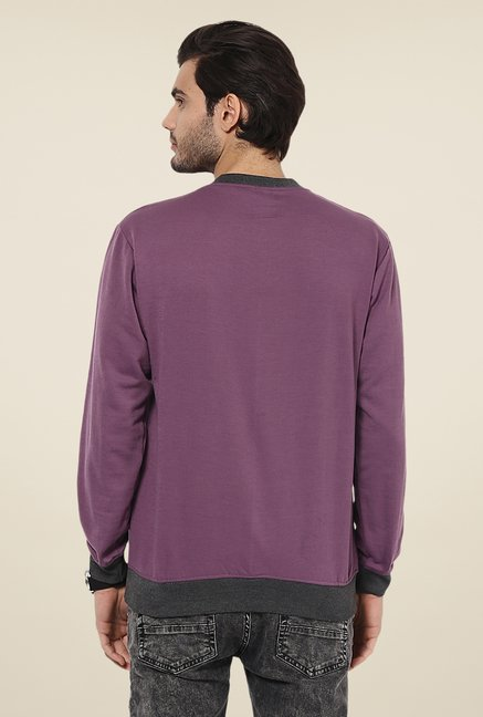 Yepme Andre Purple Printed Sweatshirt