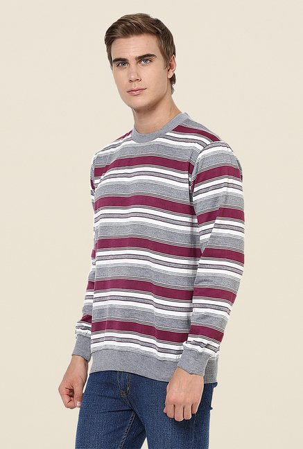 Yepme Simon Grey & Maroon Striped Sweatshirt