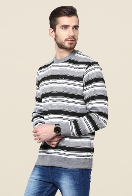 Yepme Grey & Black Striped Sweatshirt