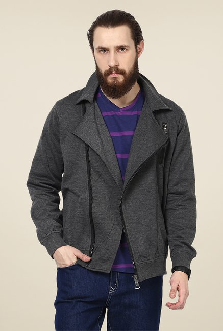Yepme Nick Dark Grey Biker Sweatshirt