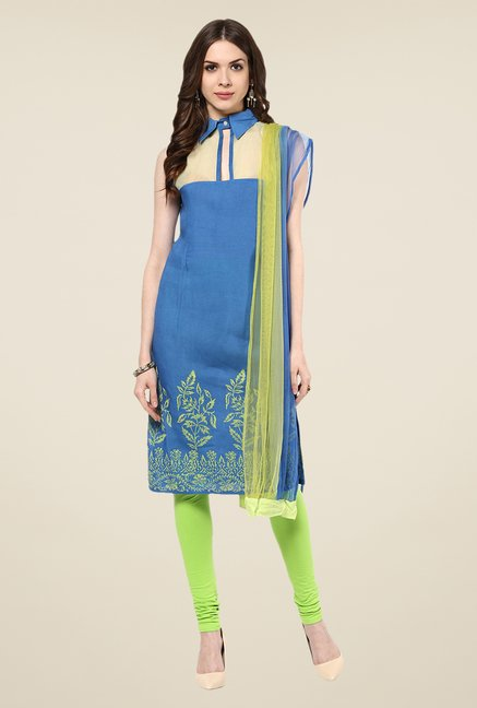 Yepme Shayna Blue & Green Salwar Suit Set
