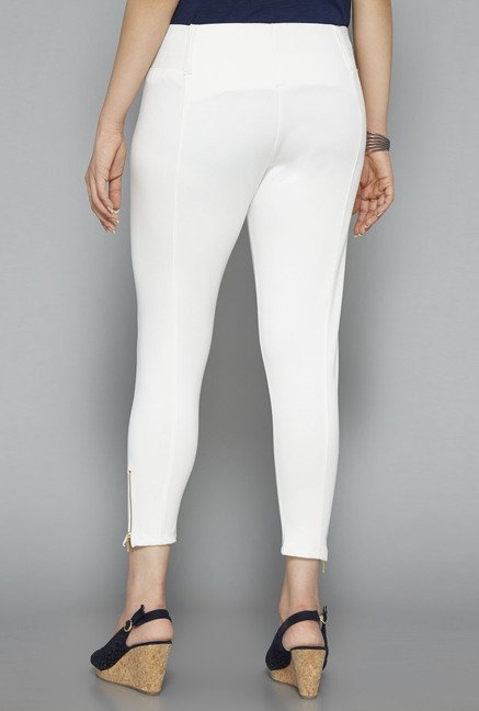 Gia by Westside White Solid Trouser