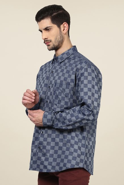 Yepme Dark Blue Davin Checked Party Shirt
