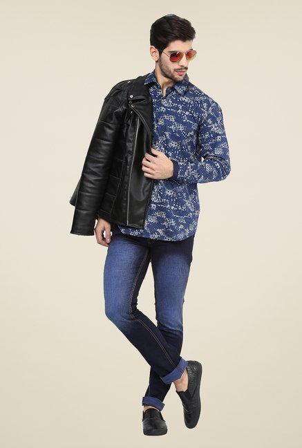 Yepme Dark Blue Bert Printed Party Shirt