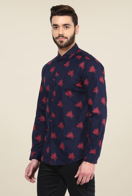 Yepme Navy Luke Printed Party Shirt