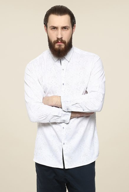 Yepme White Rodrix Printed Party Shirt