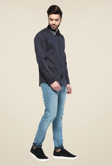 Yepme Navy Morris Printed Party Shirt