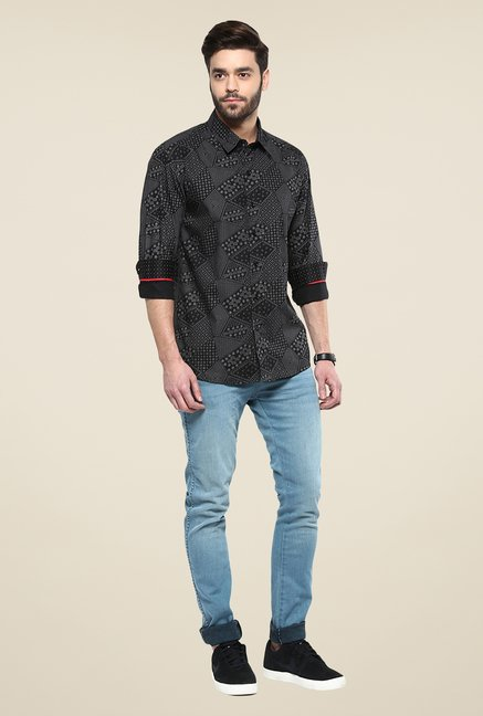 Yepme Black Steve Printed Full-sleeved Party Shirt