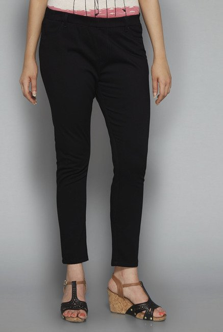 Gia by Westside Black Solid Treggings