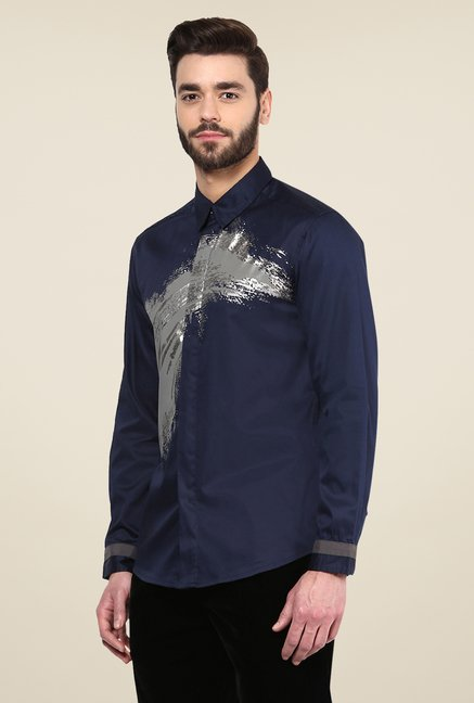 Yepme Navy Dannic Printed Cotton Party Shirt