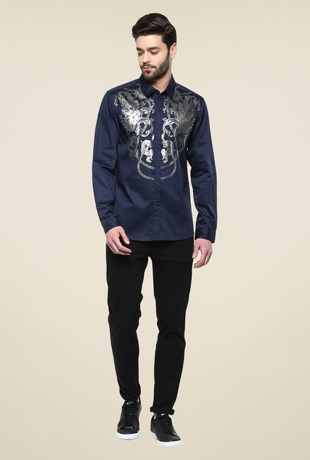 Yepme Navy Dannic Printed Party Shirt
